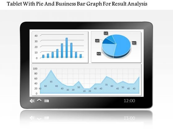 Business Diagram Tablet With Pie And Business Bar Graph For Result Analysis PowerPoint Slide