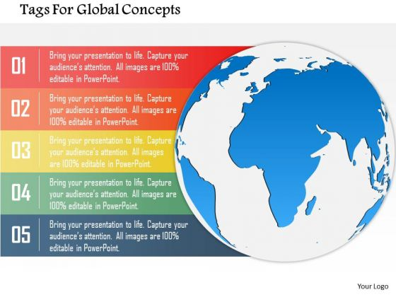 Business Diagram Tags For Global Concepts Presentation Template