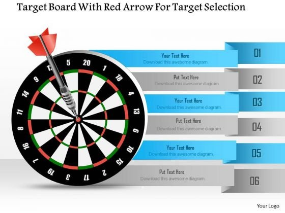 Business Diagram Target Board With Red Arrow For Target Selection Presentation Template