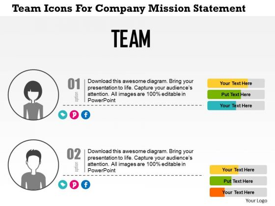 Business Diagram Team Icons For Company Mission Statement Presentation Template 1