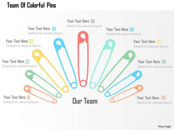 Business Diagram Team Of Colorful Pins Presentation Template