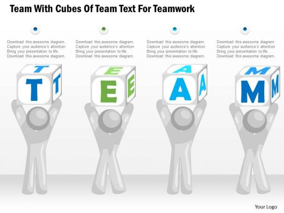 Business Diagram Team With Cubes Of Team Text For Teamwork Presentation Template
