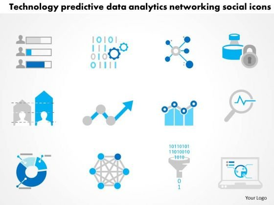 Business Diagram Technology Predictive Data Analytics Networking Social Icons Ppt Slide