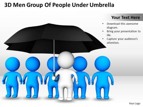 Business Diagram Templates 3d Men Group Of People Under Umbrella PowerPoint Slides