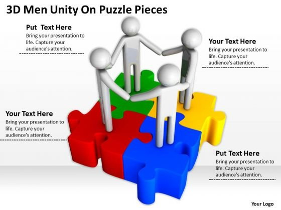 Business Diagram Templates 3d Men Unity On Puzzle Pieces PowerPoint Slides