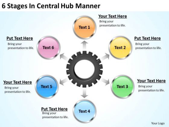 Business Diagram Templates 6 Stages Central Hub Manner PowerPoint