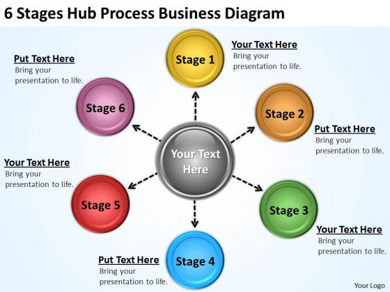 Business Diagram Templates 6 Stages Hub Process PowerPoint
