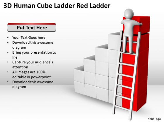 Business Diagram Templates Cube Ladder Red PowerPoint Ppt Backgrounds For Slides