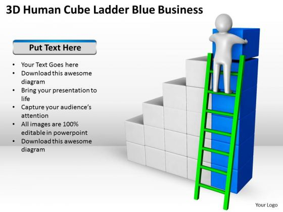 Business Diagram Templates Ladder Blue PowerPoint Ppt Backgrounds For Slides