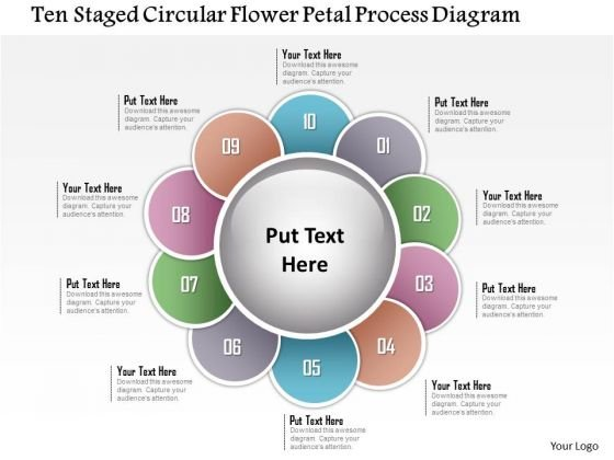 Business Diagram Ten Staged Circular Flower Petal Process Diagram Presentation Template