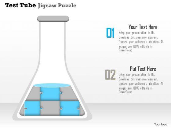 Business Diagram Test Tube Jigsaw Puzzle Conceptual Presentation Template