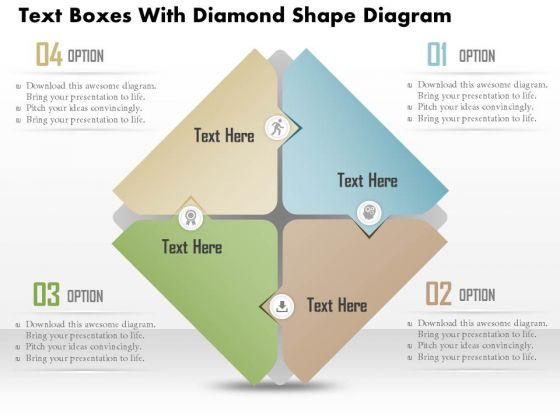Business Diagram Text Boxes With Diamond Shape Diagram PowerPoint Ppt Presentation
