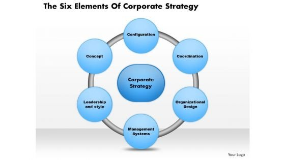 Business Diagram The Six Elements Of Corporate Strategy PowerPoint Presentation