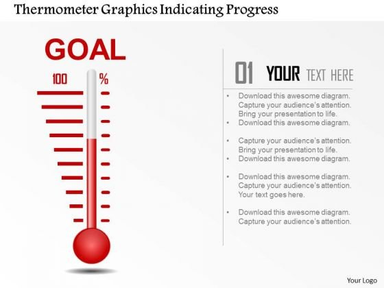 Business Diagram Thermometer Graphics Indicating Progress