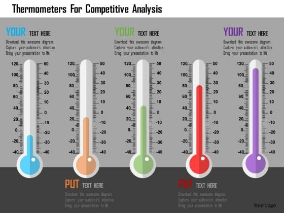 Business Diagram Thermometers For Competitive Analysis Presentation Template