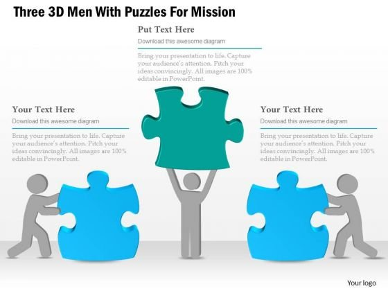 Business Diagram Three 3d Men With Puzzles For Mission Presentation Template