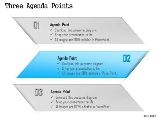Business Diagram Three Agenda Points Presentation Template