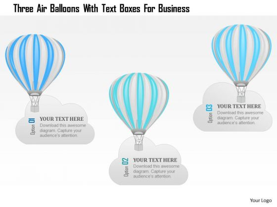 Business Diagram Three Air Balloons With Text Boxes For Business Presentation Template