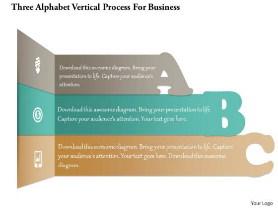 Business Diagram Three Alphabet Vertical Process For Business PowerPoint Template