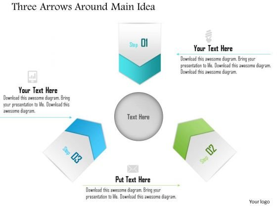 Business Diagram Three Arrows Around Main Idea Presentation Template