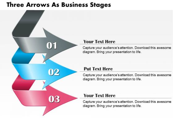 Business Diagram Three Arrows As Business Stages Presentation Template