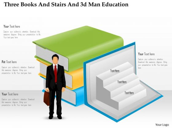 Business Diagram Three Books And Stairs And 3d Man Education Presentation Template