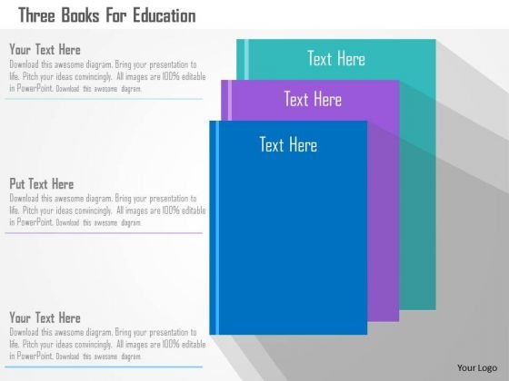 Business Diagram Three Books For Education Presentation Template
