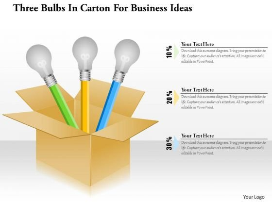 Business Diagram Three Bulbs In Carton For Business Ideas Presentation Template