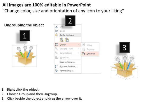 business_diagram_three_bulbs_in_carton_for_business_ideas_presentation_template_2