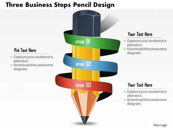 Business Diagram Three Business Steps Pencil Design Presentation Template