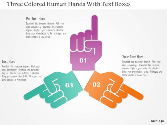 Business Diagram Three Colored Human Hands With Text Boxes Presentation Template