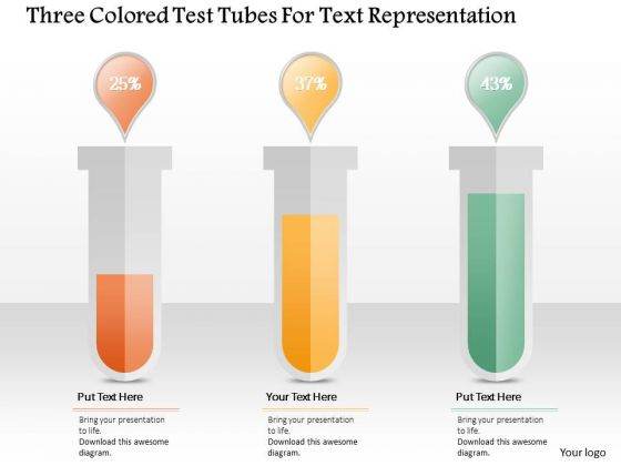 Business Diagram Three Colored Test Tubes For Text Representation Presentation Template