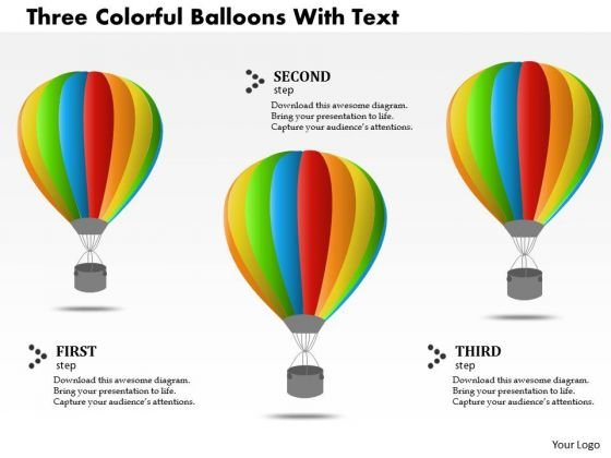 Business Diagram Three Colorful Balloons With Text PowerPoint Template