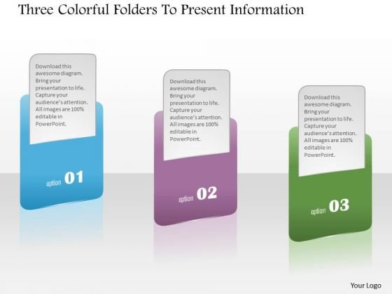 Business Diagram Three Colorful Folders To Present Information Presentation Template
