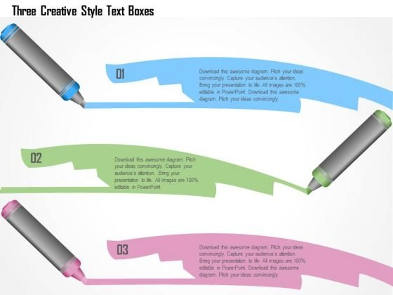 Business Diagram Three Creative Style Text Boxes Presentation Template