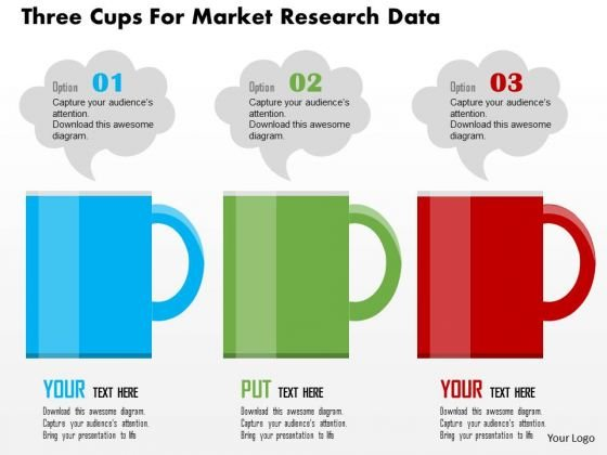 business diagram three cups for market research data presentation, Powerpoint templates