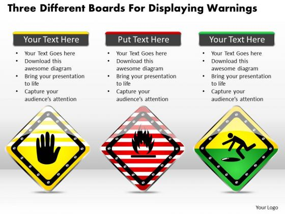 Business Diagram Three Different Boards For Displaying Warnings Presentation Template