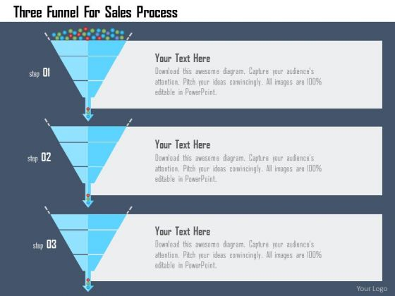 Business Diagram Three Funnel For Sales Process Presentation