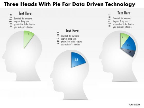 Business Diagram Three Heads With Pie For Data Driven Technology PowerPoint Slide