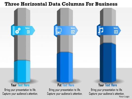 Business Diagram Three Horizontal Data Columns For Business Presentation Template