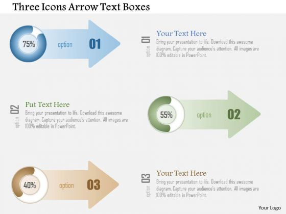 Business Diagram Three Icons Arrow Text Boxes PowerPoint Template