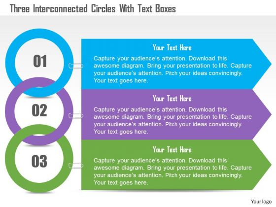 business_diagram_three_interconnected_circles_with_text_boxes_presentation_template_1