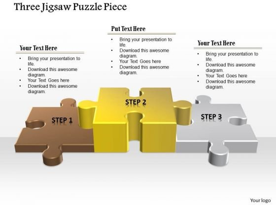 Business Diagram Three Jigsaw Puzzle Piece Presentation Template
