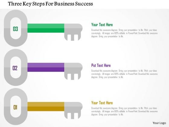 Business Diagram Three Key Steps For Business Success Presentation Template