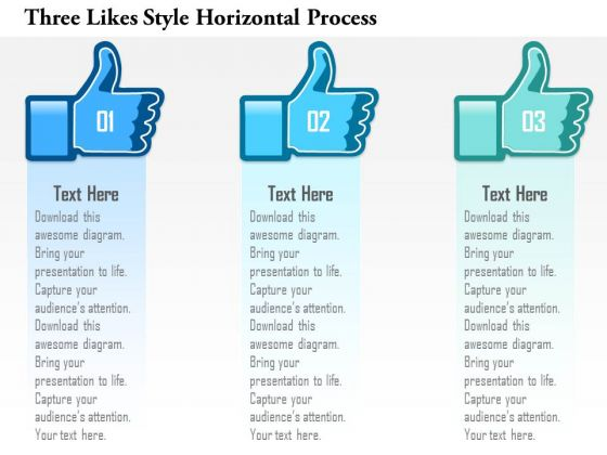 Business Diagram Three Likes Style Horizontal Process Presentation Template