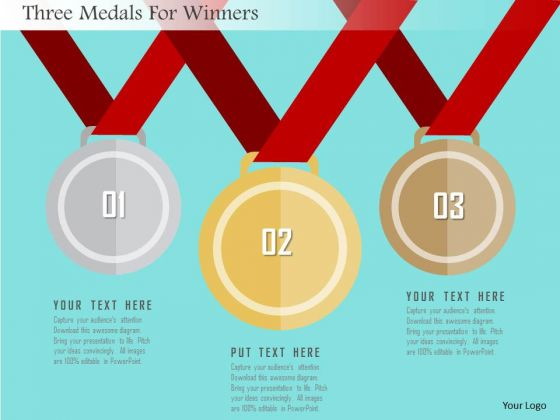 Business Diagram Three Medals For Winners Presentation Template