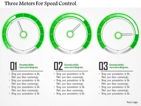 Business Diagram Three Meters For Speed Control Presentation Template