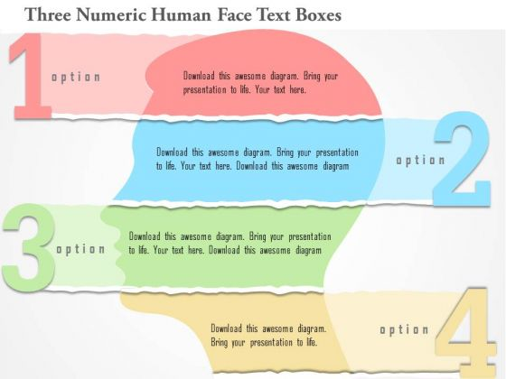 Business Diagram Three Numeric Human Face Text Boxes Presentation Template