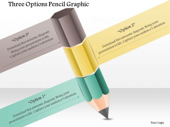 Business Diagram Three Options Pencil Graphic Presentation Template