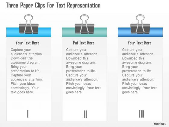 Business Diagram Three Paper Clips For Text Representation Presentation Template